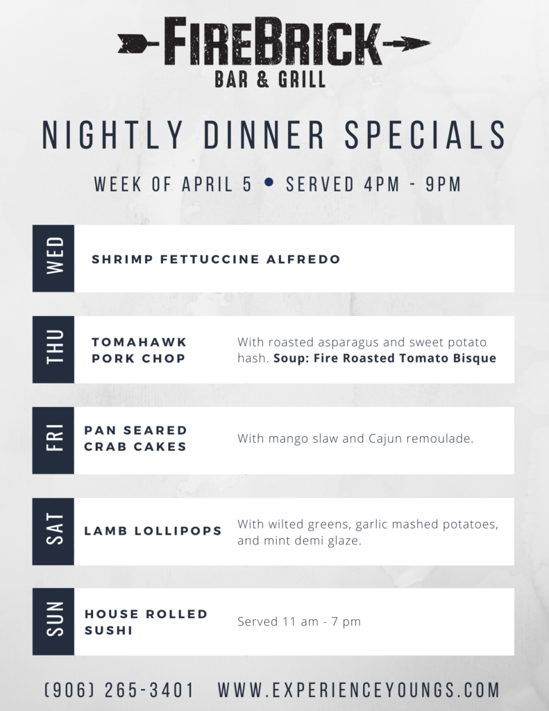 Weekly Dinner Specials April 5